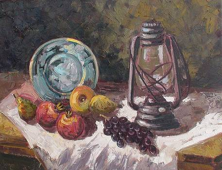 Still life with lantern by Charalampos Laskaris