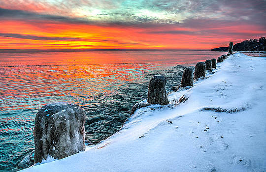 Sunrise North of Chicago Lake Michigan 1-18-14 by Michael  Bennett