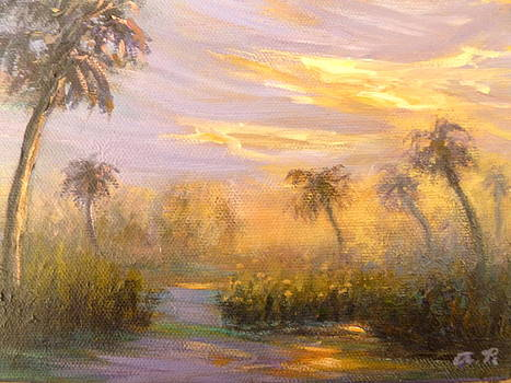 Sunset Marsh Paintings by Amber Palomares