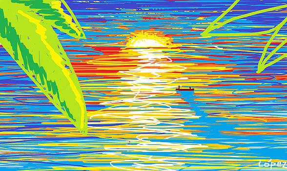 Sunset shore fisherman by CarlosIvan LopezCardozo