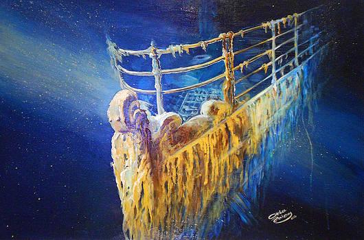 Titanic in the deep mist by Ottilia Zakany