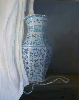 Vase and Pearls by Maggie  Cabral