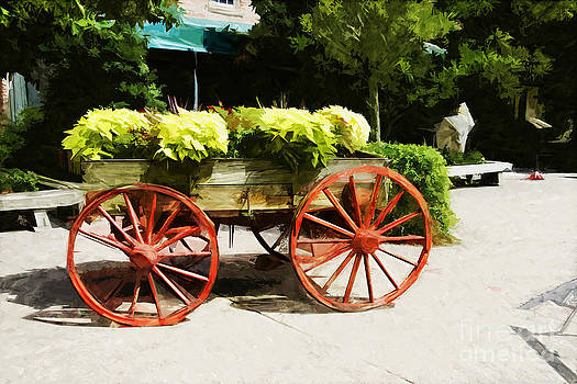 wagon of flowers on Julian Street by Ules Barnwell