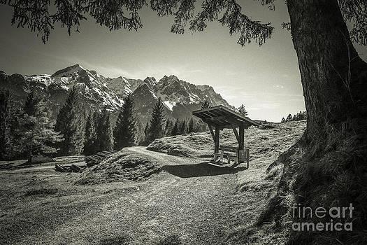 Hannes Cmarits - walking in the Alps - bw