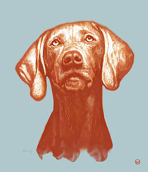 Dog stylised pop modern art drawing sketch portrait by Kim Wang