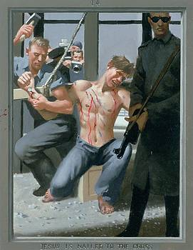 14. Jesus Is Nailed to the Cross / from The Passion of Christ - A Gay Vision by Douglas Blanchard