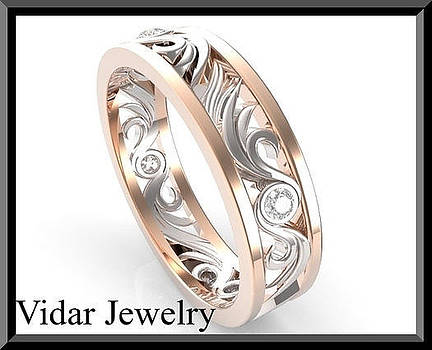 14k Rose And White Gold Diamond Woman Wedding Ring by Roi Avidar
