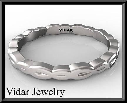 14k White Gold Leaf Woman Wedding Ring  by Roi Avidar
