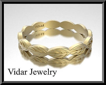 14k Yellow Gold Leaf Woman Wedding Ring by Roi Avidar