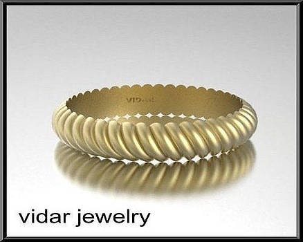 14k Yellow Gold Twisted Unisex Wedding Ring by Roi Avidar