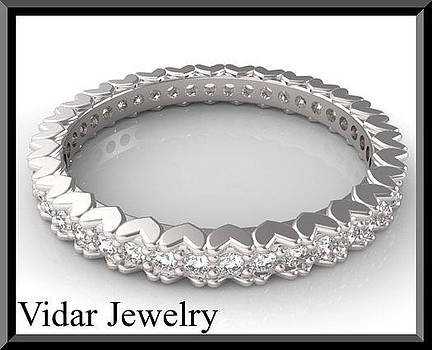 14kt White Gold And Diamond Heart Woman Wedding Ring by Roi Avidar