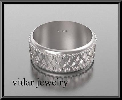 14kt White Gold Heart Unisex Wedding Ring by Roi Avidar