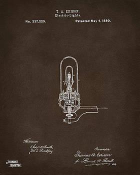 1880 Edison Electric Lights Patent Artwork Espresso by Nikki Marie Smith