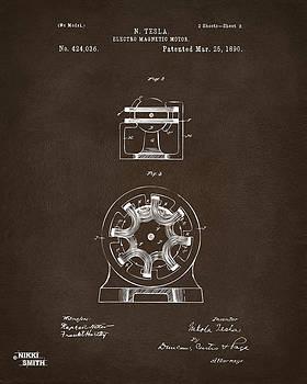 1890 Tesla Motor Patent Espresso by Nikki Marie Smith