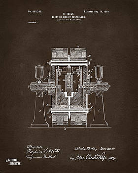1898 Tesla Electric Circuit Patent Artwork Espresso by Nikki Marie Smith