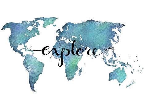 18x24 Explore Map Art by Michelle Eshleman