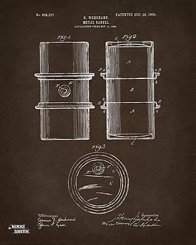 1905 Oil Drum Patent Artwork Espresso by Nikki Marie Smith