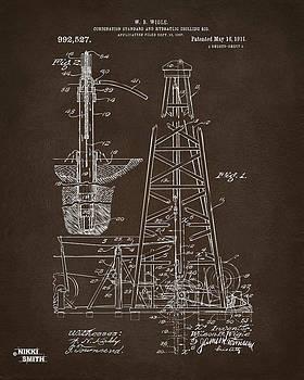 1911 Oil Drilling Rig Patent Artwork - Espresso by Nikki Marie Smith