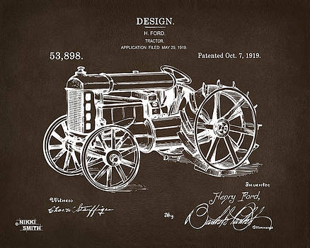 1919 Henry Ford Tractor Patent Espresso by Nikki Marie Smith