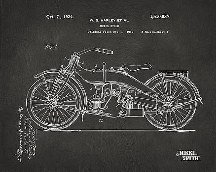 Nikki Marie Smith - 1924 Harley Motorcycle Patent Artwork - Gray