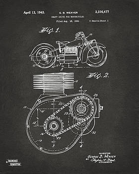 Nikki Marie Smith - 1941 Indian Motorcycle Patent Artwork - Gray