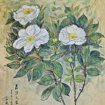 1st Place Botanicals Art Exhibition - White Peonies by Annie Wang