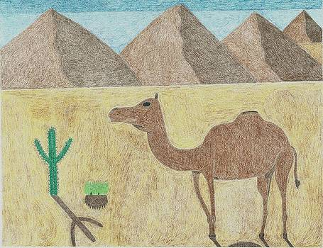 A camel in the desert by Miles The Artist