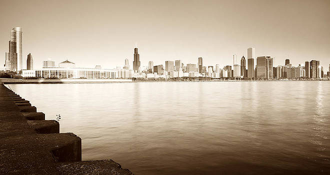 Chicago Skyline in sepia by Tomasz Worek
