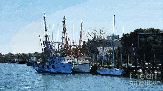 Docked Shrimp Boats by Ules Barnwell