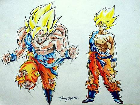 Goku in action by Tanmay Singh