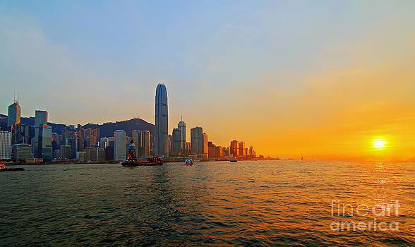 Golden Sunset In Hong Kong by Lars Ruecker