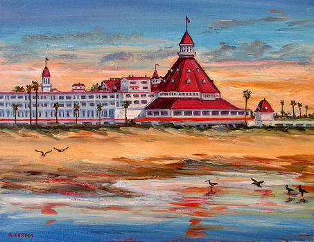 Hotel del Coronado at Sunset by Robert Gerdes