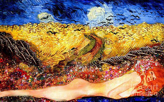 Serpent in wheatfield by Karine Percheron-Daniels