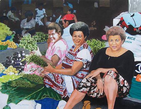 Three Nice Ladies at a Fiji Market by Constance Drescher