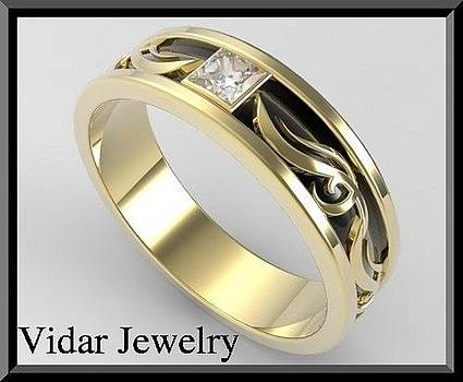 2 Tone Men Wedding Ring - Black And Yellow Gold Men's Wedding by Roi Avidar