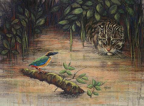 Treading Water Asian Fishing Cat by Cynthia House