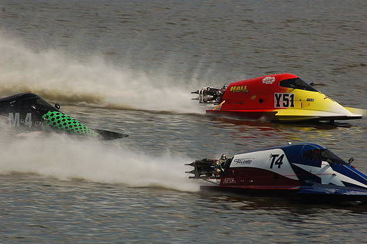 3 Boat Racers at speed by Dick Todd