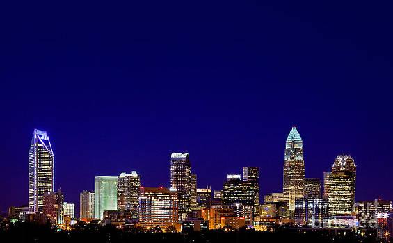 Charlotte skyline at night by Patrick Schneider