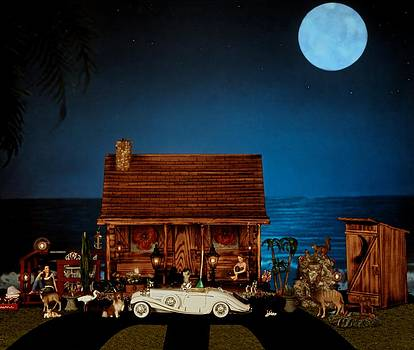 Miniature Log Cabin Scene With The Classic 1936 Mercedes Benz Special Roadster In Color by Leslie Crotty