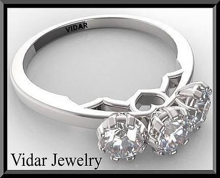 3 Stones 14k White Gold Diamond Engagement Ring by Roi Avidar