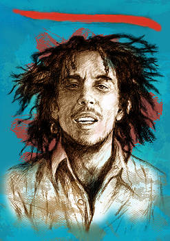 Bob Marley stylised pop art drawing potrait poser by Kim Wang