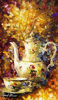 5 Oclock Tea - PALETTE KNIFE Oil Painting On Canvas By Leonid Afremov by Leonid Afremov