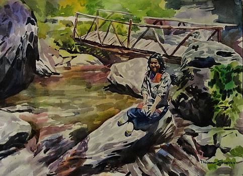 A lady at the brook by Prashant Srivastava