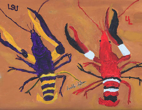 A LSU crawfish and a UL crawfish by Swabby Soileau