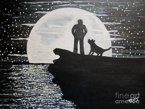 A man and his dog by Terry Hopkins