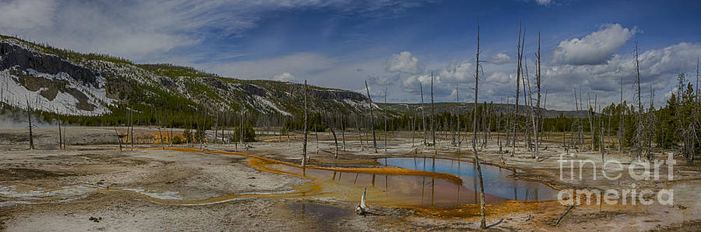 A Panoramic View of  A Yellowstone Geyser Basin by Steve Triplett
