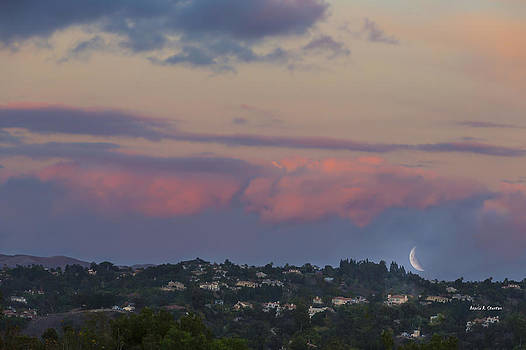 Angela A Stanton - A Sliver of a Moon with Dramatic Pink Clouds