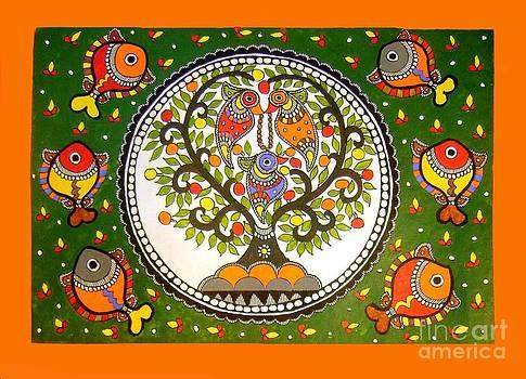 A small island-Madhubani Painting by Neeraj kumar Jha