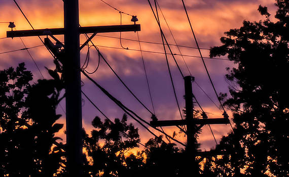 A Winter Sunset Through High Voltage Lines by Michael Rigamer