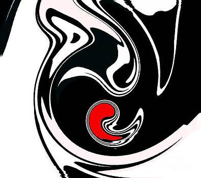 Abstract Black White Red Geometric Art No.384. by Drinka Mercep